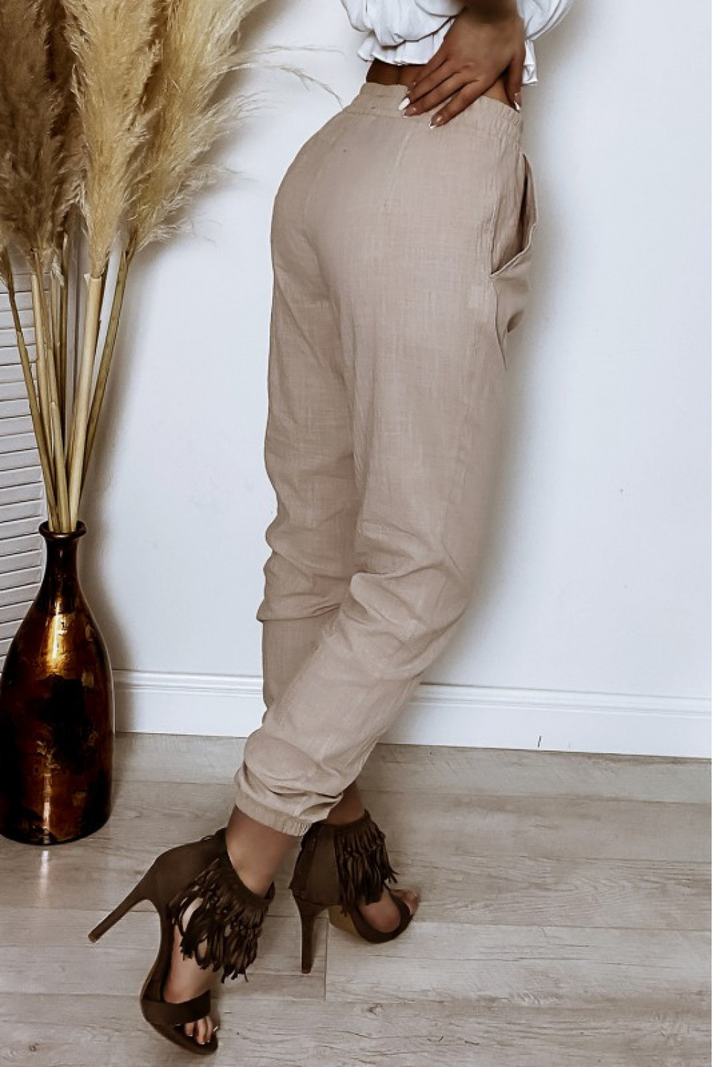 Beżowe bawełniane spodnie boho Aries 5
