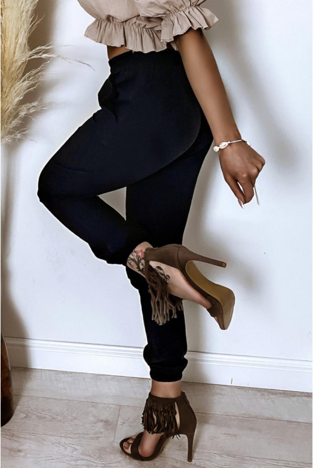 Czarne bawełniane spodnie boho Aries 4
