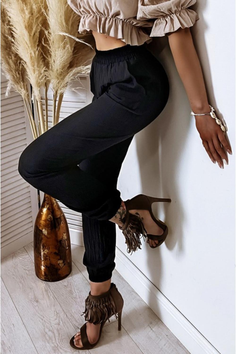 Czarne bawełniane spodnie boho Aries 5