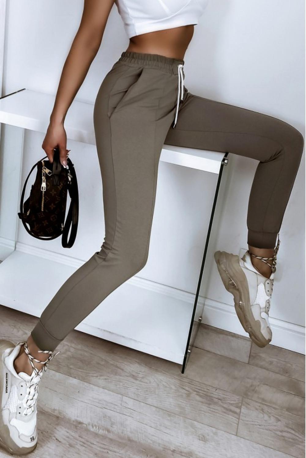 Khaki spodnie dresowe dopasowane z przeszyciami Lyana 4