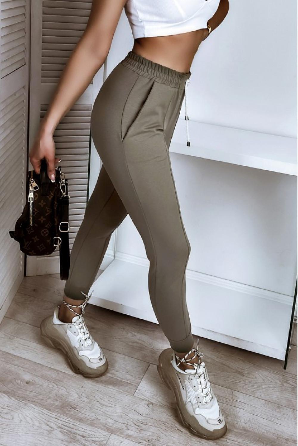 Khaki spodnie dresowe dopasowane z przeszyciami Lyana 1