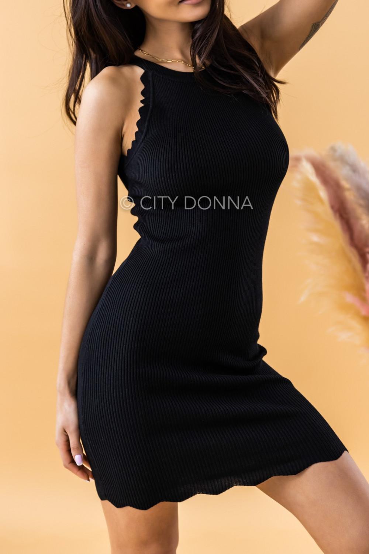 Czarna sukienka dopasowana bez rękawów Lorena 1