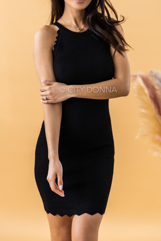 Czarna sukienka dopasowana bez rękawów Lorena 3