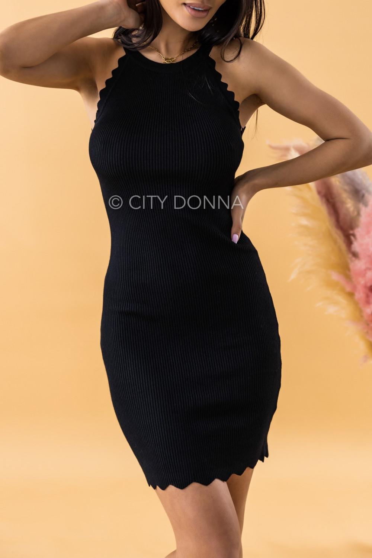 Czarna sukienka dopasowana bez rękawów Lorena 2