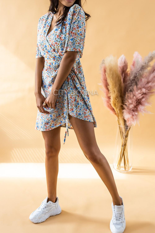Niebieska kwiatowa sukienka kopertowa V-Neck Aster 3
