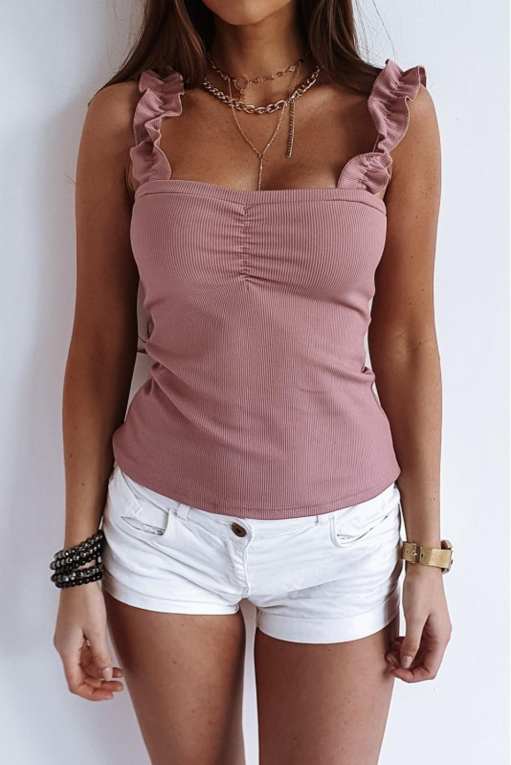 Różowy top hiszpanka z falbankami na ramiączkach Marika 1