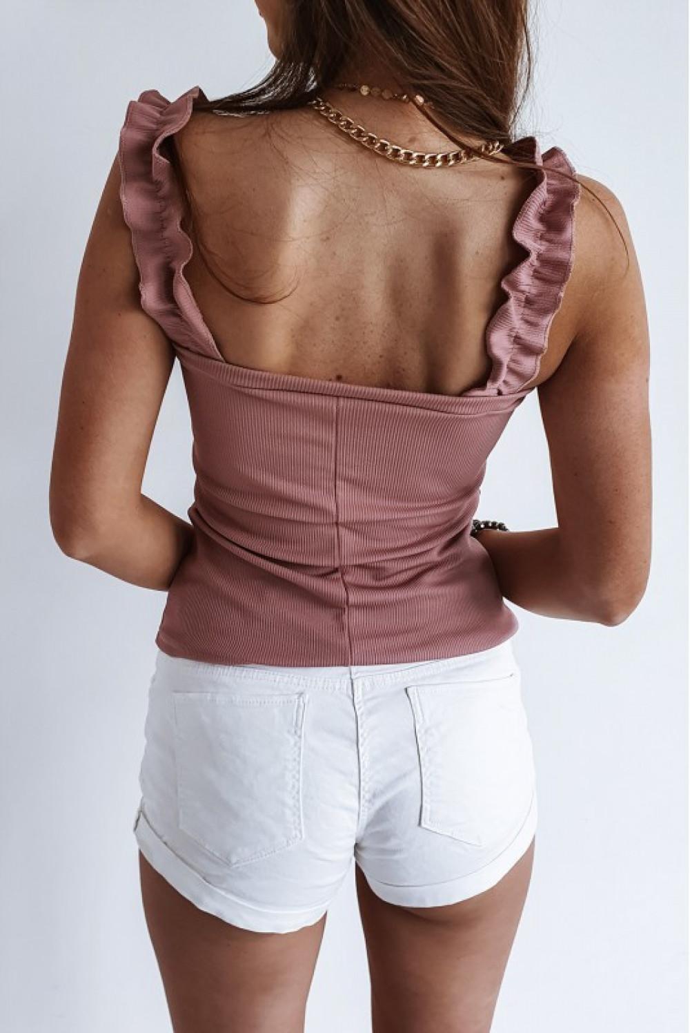 Różowy top hiszpanka z falbankami na ramiączkach Marika 2