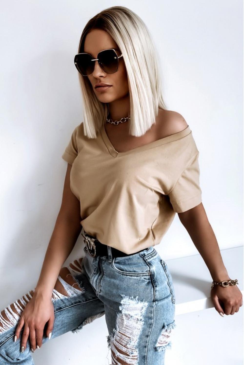 Beżowy t-shirt V-Neck Chantal 4