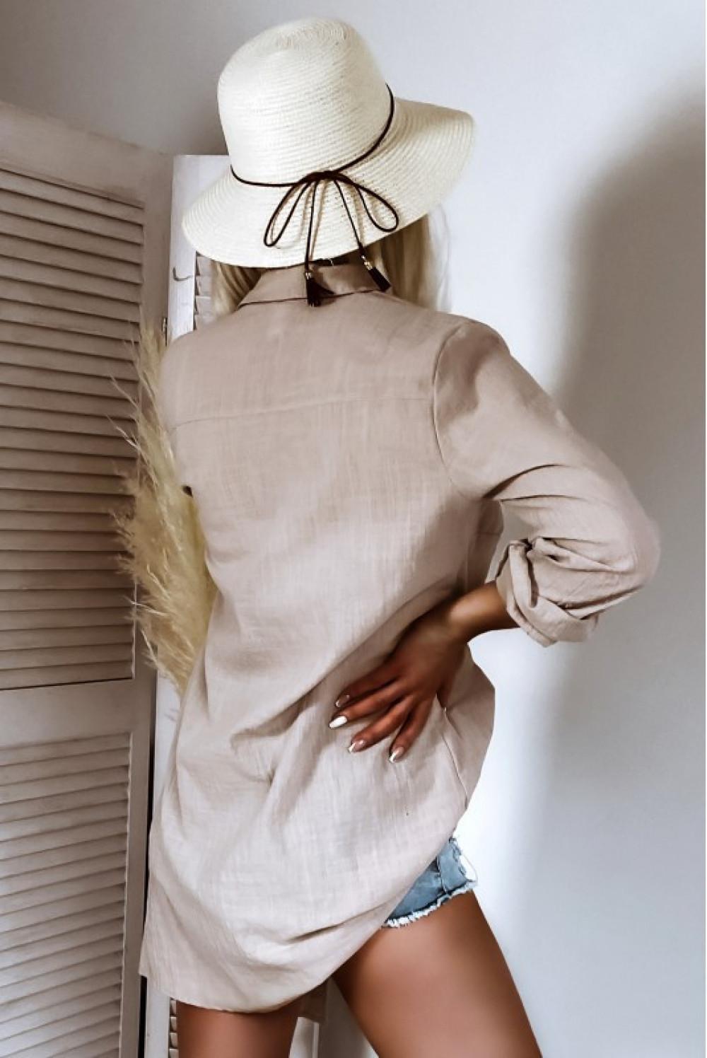 Beżowa długa bawełniana koszula boho Stella 3