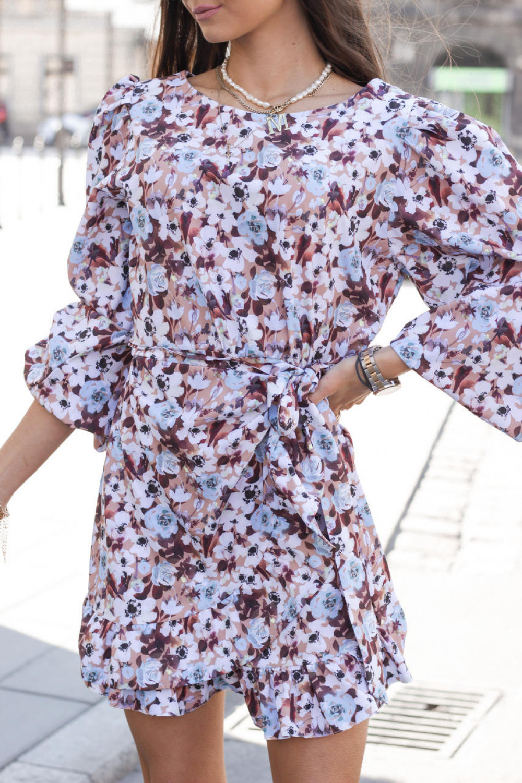 Brązowo-niebieska sukienka rozkloszowana z bufiastymi rękawami Chica 1