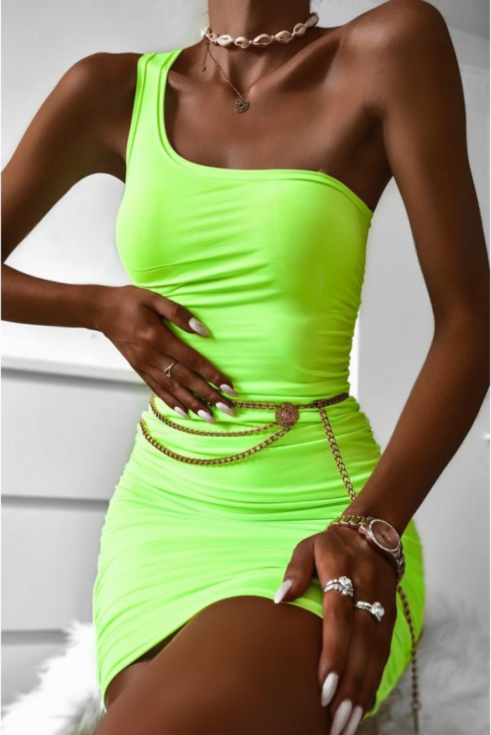 Limonkowy marszczony komplet damski top na jedno ramię i spódnica Zara 2