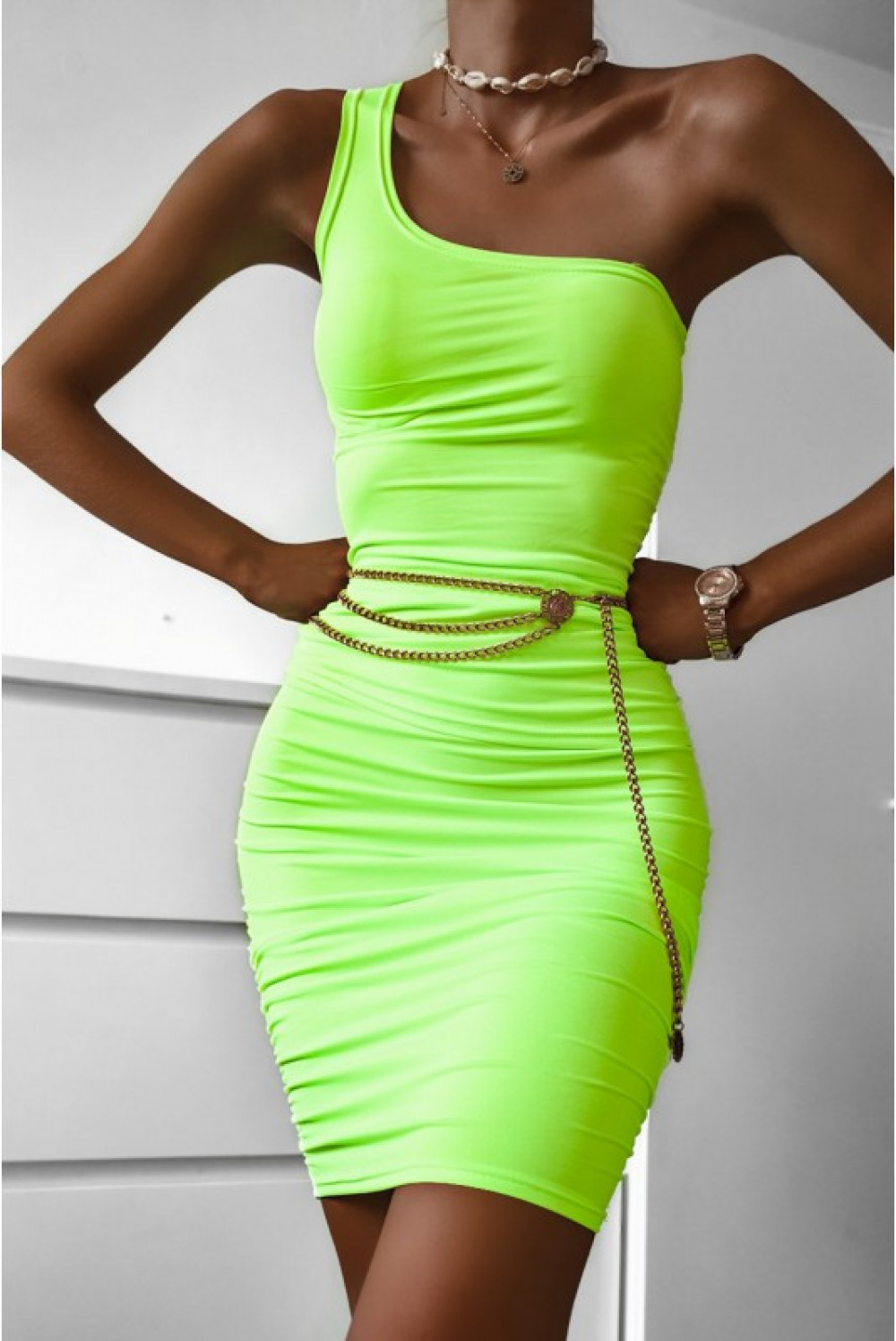 Limonkowy marszczony komplet damski top na jedno ramię i spódnica Zara 3