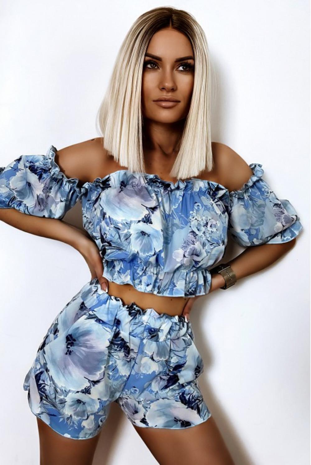 Niebieski kwiatowy komplet damski hiszpanka Kylie 1