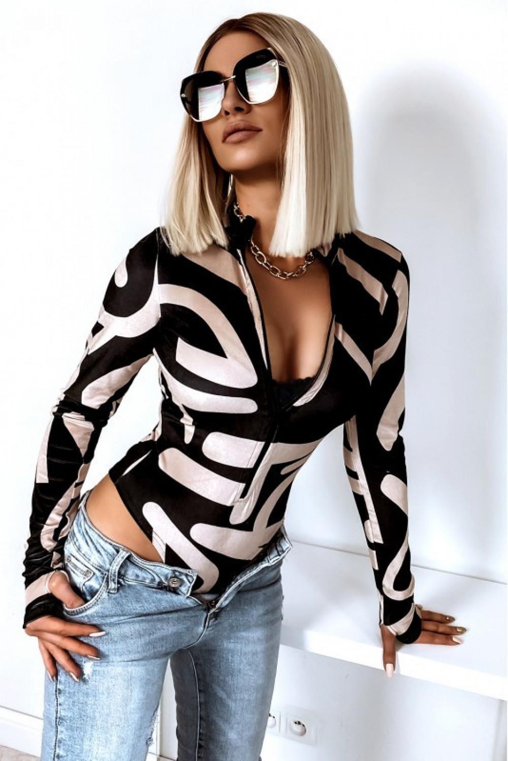Czarno-beżowe welurowe body damskie z zipem we wzory Zélie 1