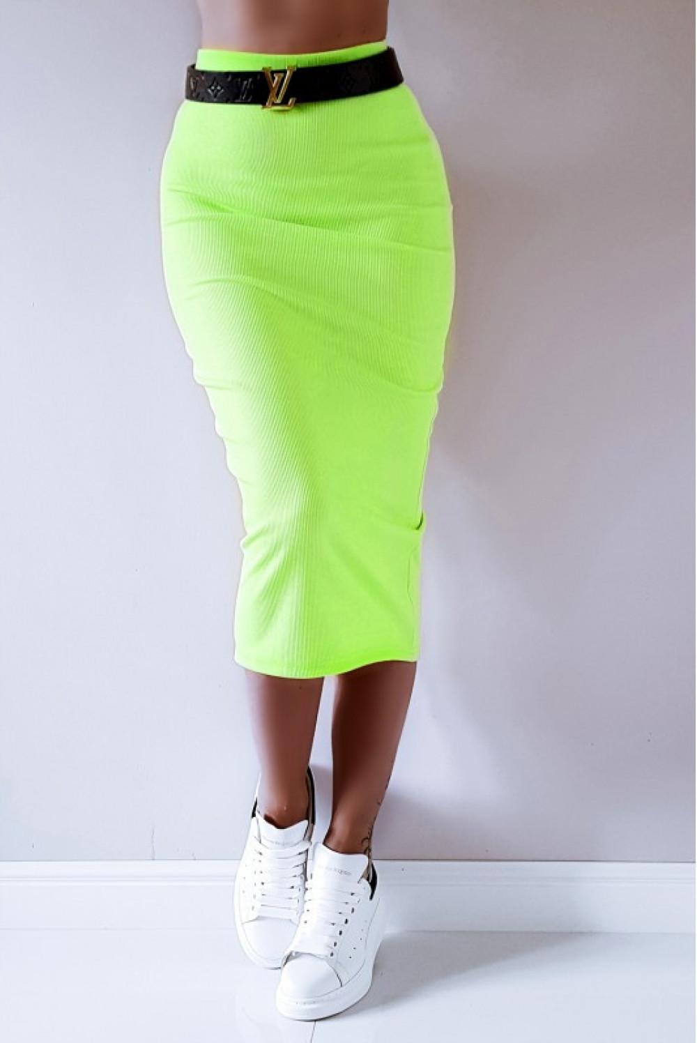 Neonowo limonkowa ołówkowa dopasowana spódnica midi Alix 5