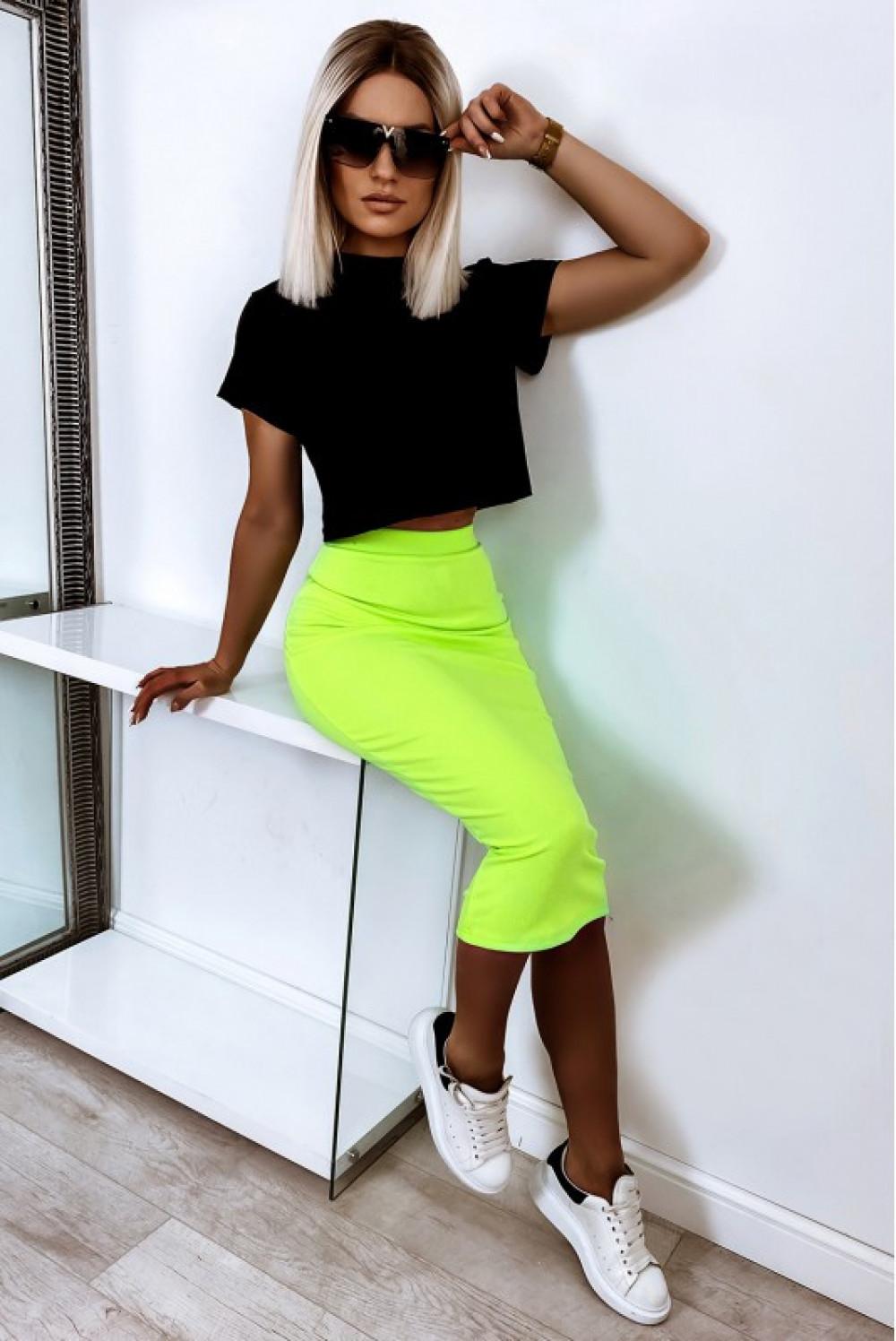 Neonowo limonkowa ołówkowa dopasowana spódnica midi Alix 2