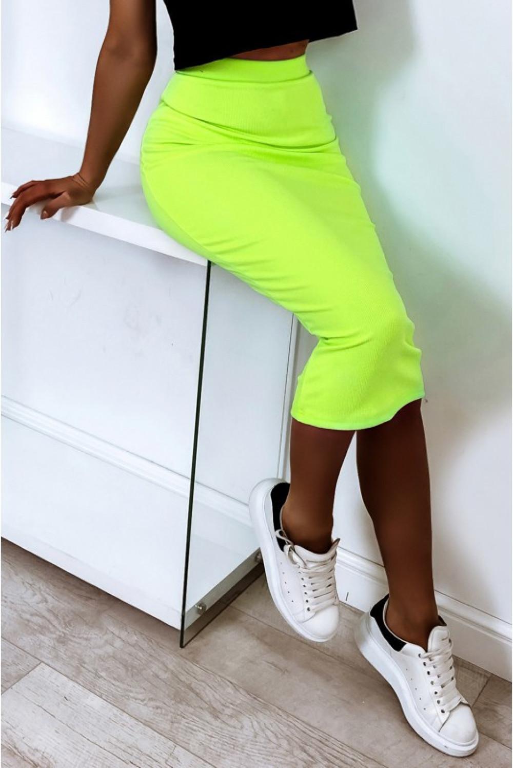 Neonowo limonkowa ołówkowa dopasowana spódnica midi Alix 4