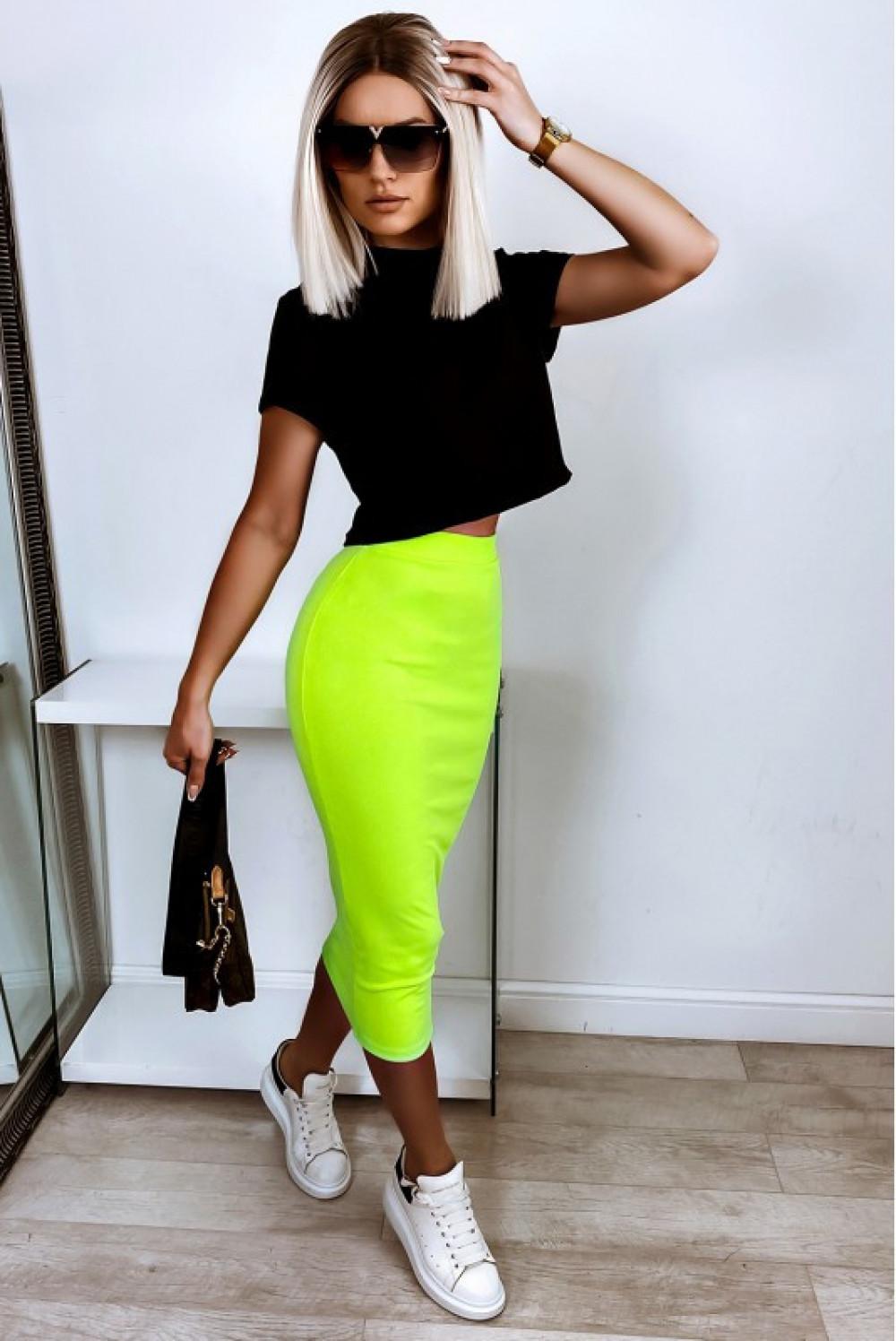 Neonowo limonkowa ołówkowa dopasowana spódnica midi Alix 3