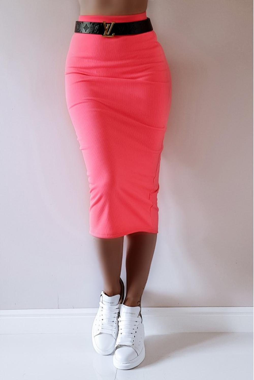 Neonowo różowa ołówkowa dopasowana spódnica midi Alix 5