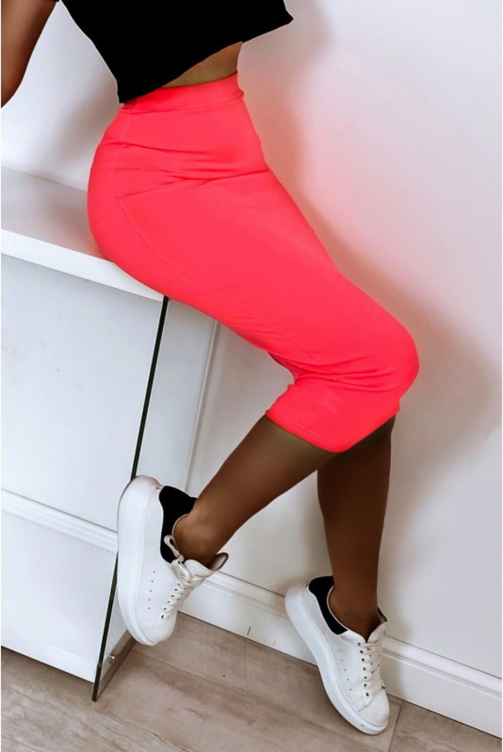 Neonowo różowa ołówkowa dopasowana spódnica midi Alix 4