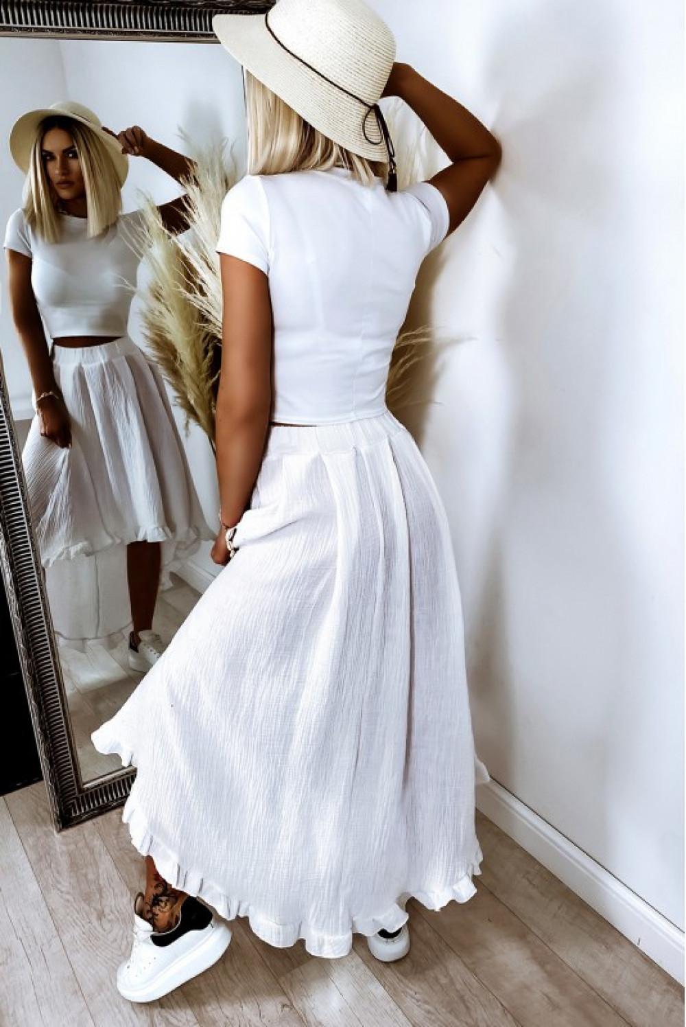Biała asymetryczna rozkloszowana spódnica z falbankami boho midi Coraline 2