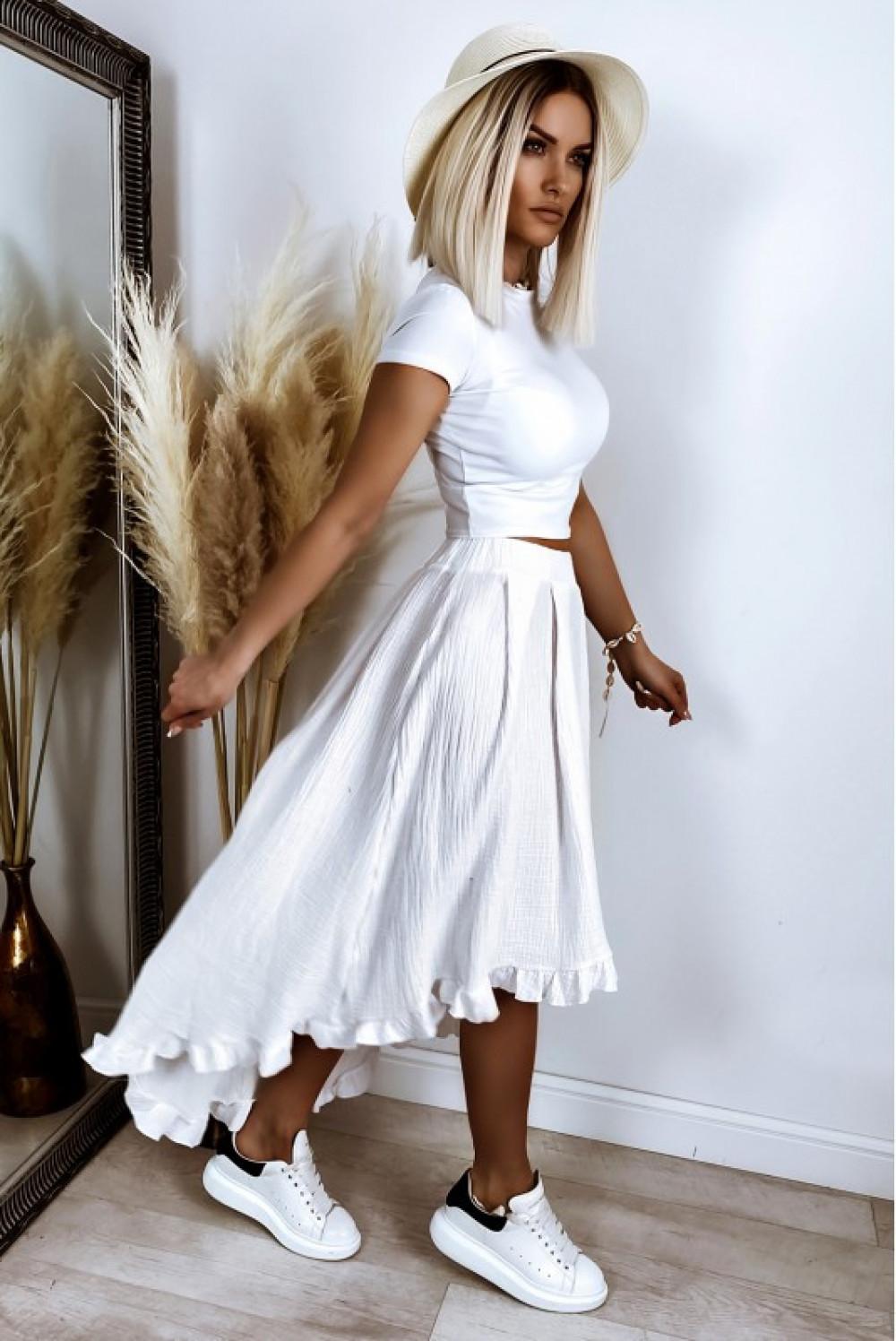 Biała asymetryczna rozkloszowana spódnica z falbankami boho midi Coraline 3