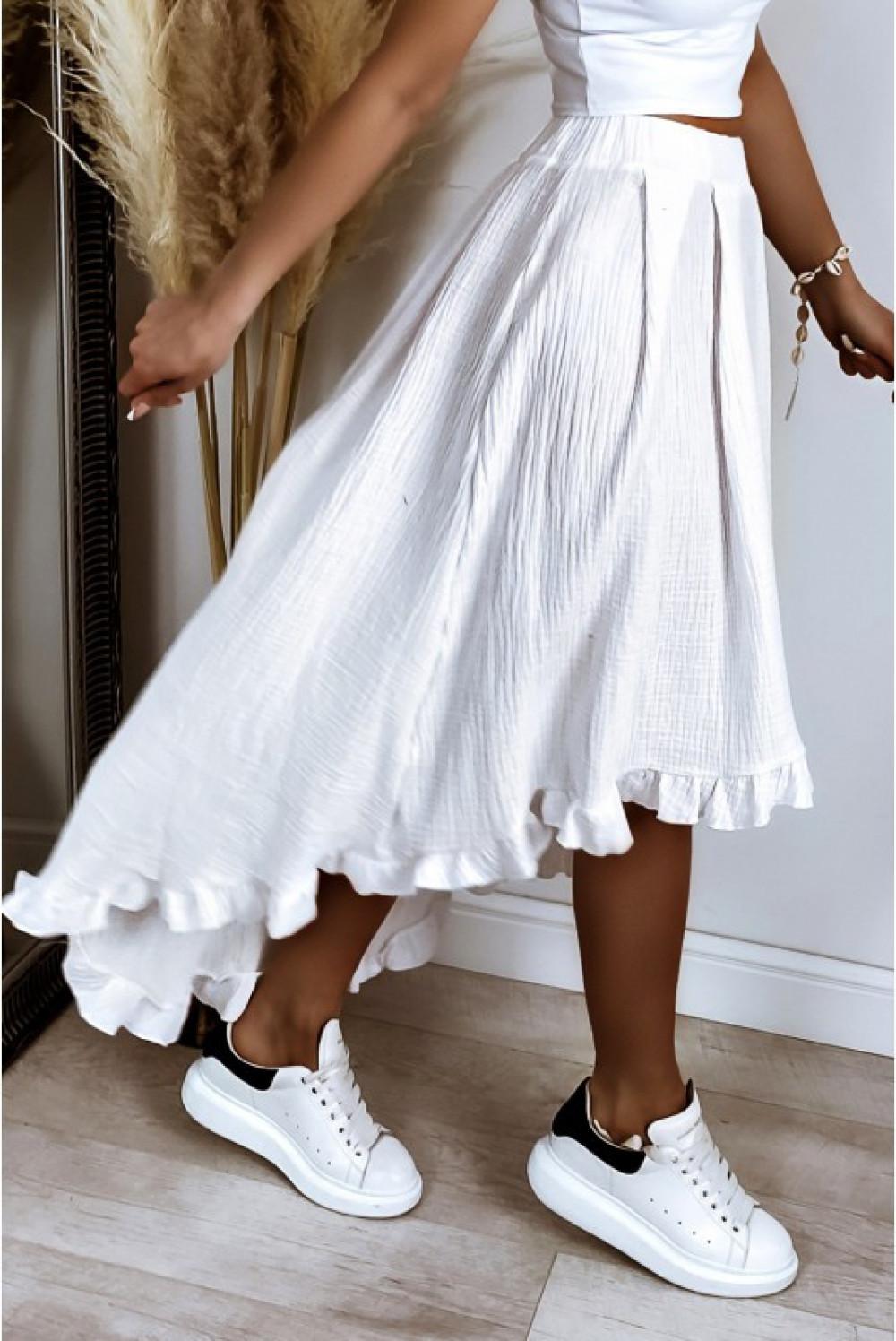 Biała asymetryczna rozkloszowana spódnica z falbankami boho midi Coraline 4