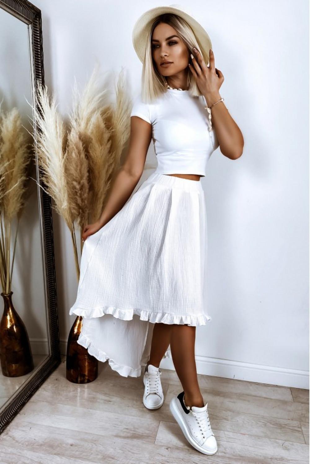 Biała asymetryczna rozkloszowana spódnica z falbankami boho midi Coraline 1