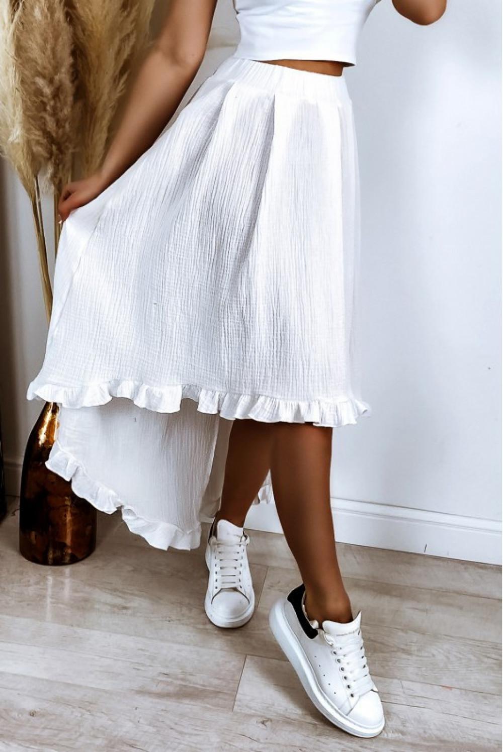 Biała asymetryczna rozkloszowana spódnica z falbankami boho midi Coraline 5