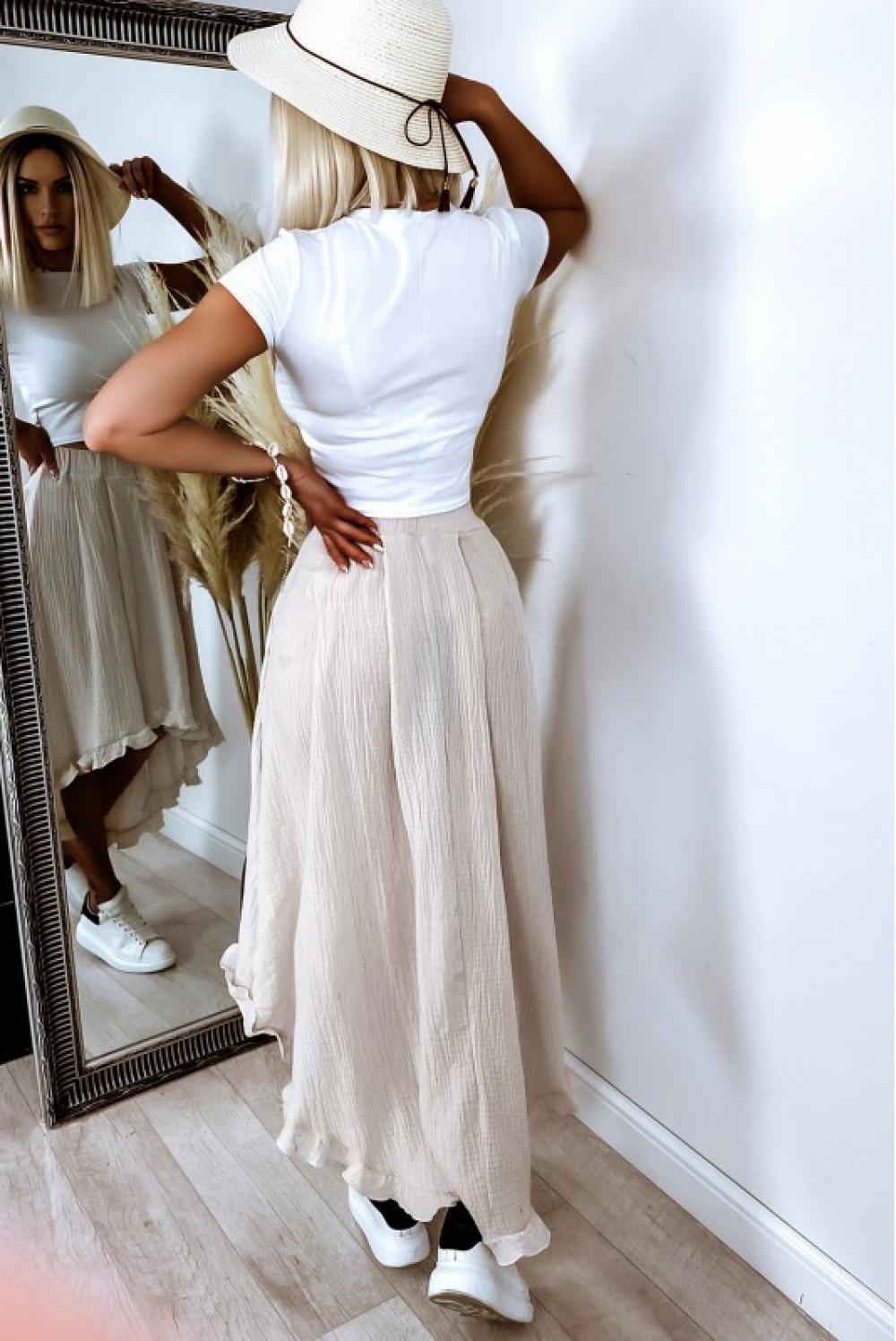 Beżowa asymetryczna rozkloszowana spódnica z falbankami boho midi Coraline 2
