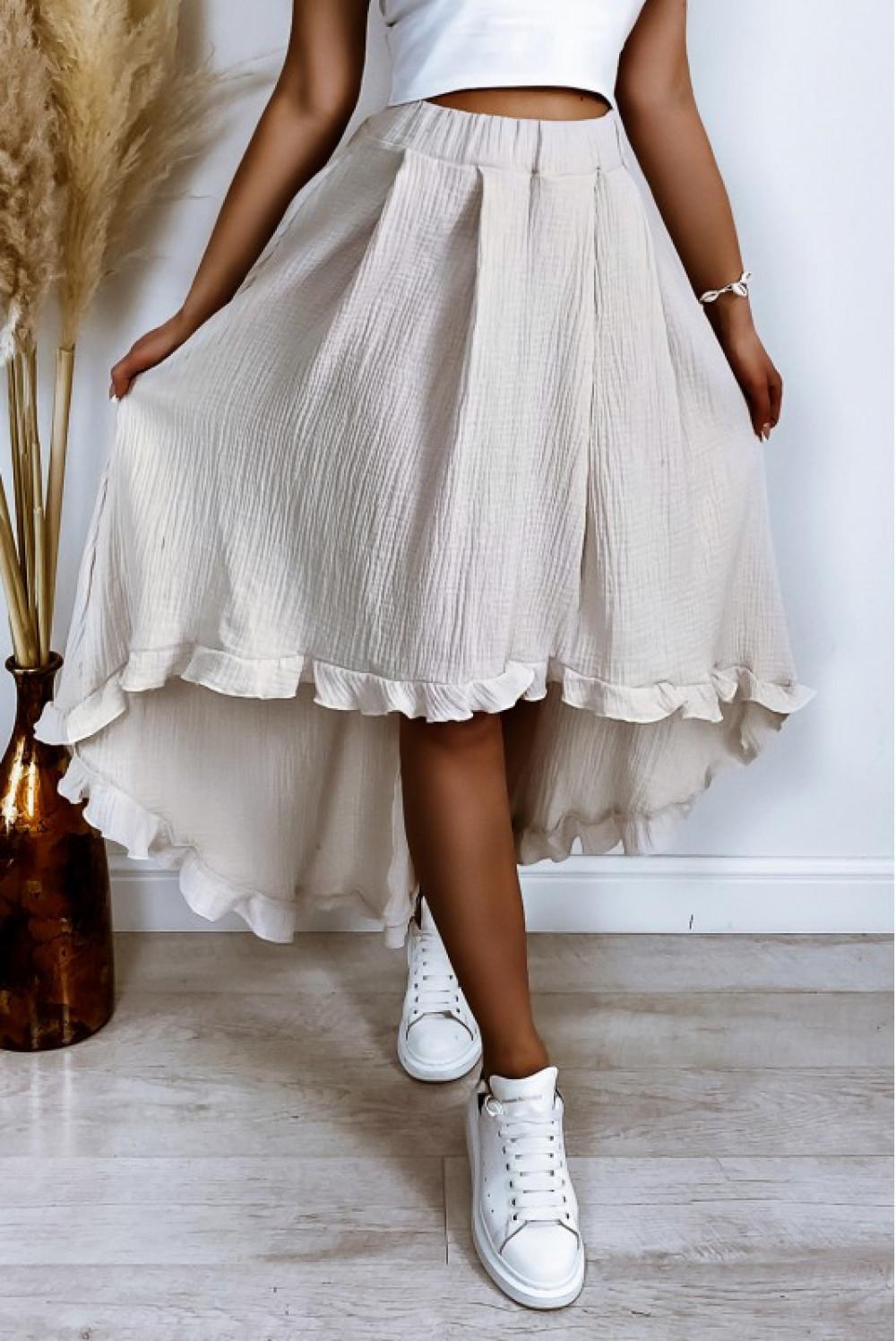 Beżowa asymetryczna rozkloszowana spódnica z falbankami boho midi Coraline 3