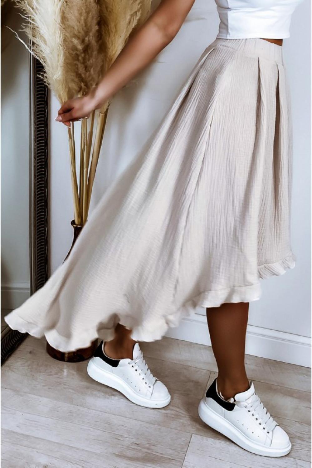 Beżowa asymetryczna rozkloszowana spódnica z falbankami boho midi Coraline 5