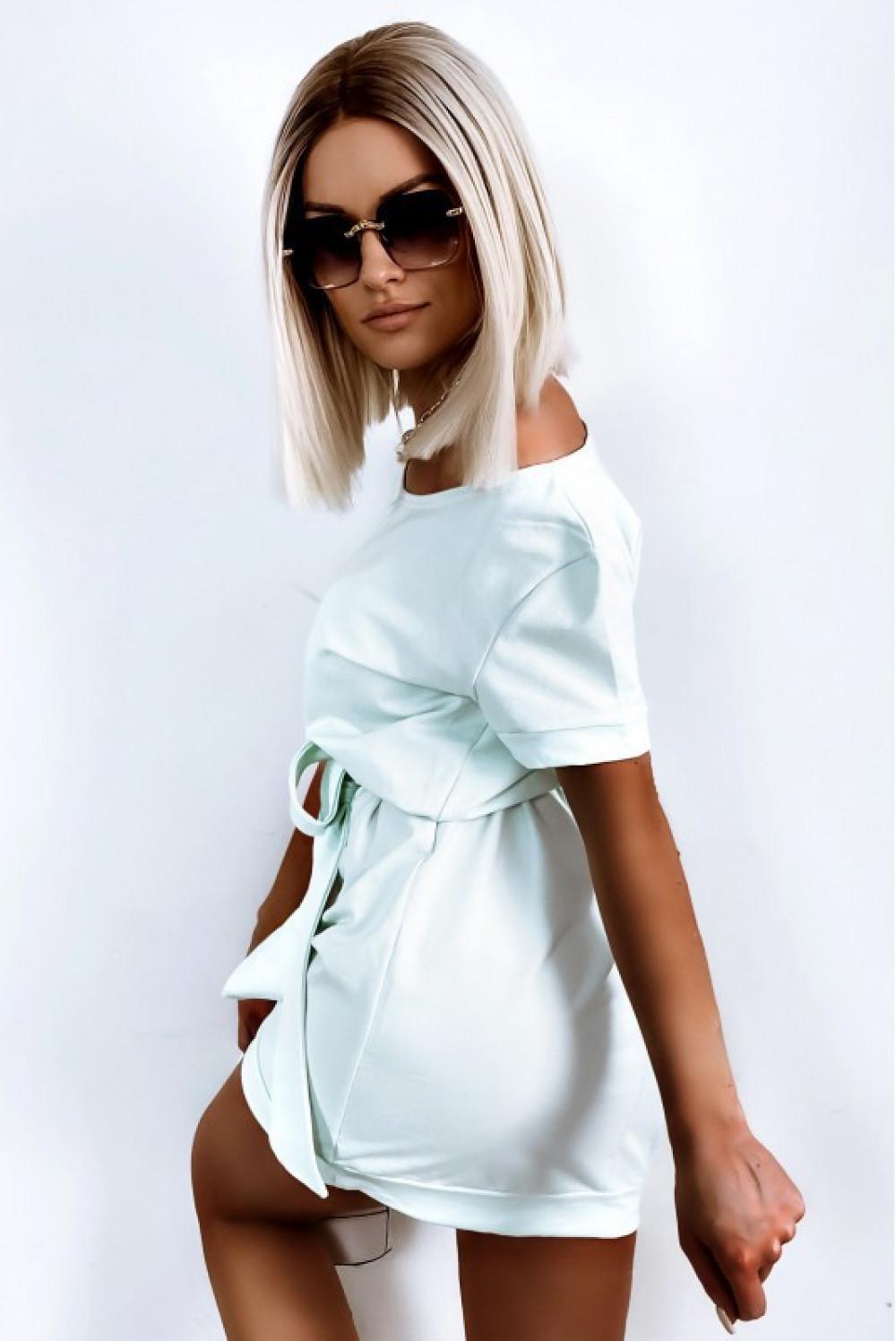 Miętowa sukienka klasyczna z wiązaniem i krótkim rękawem Rosine 2