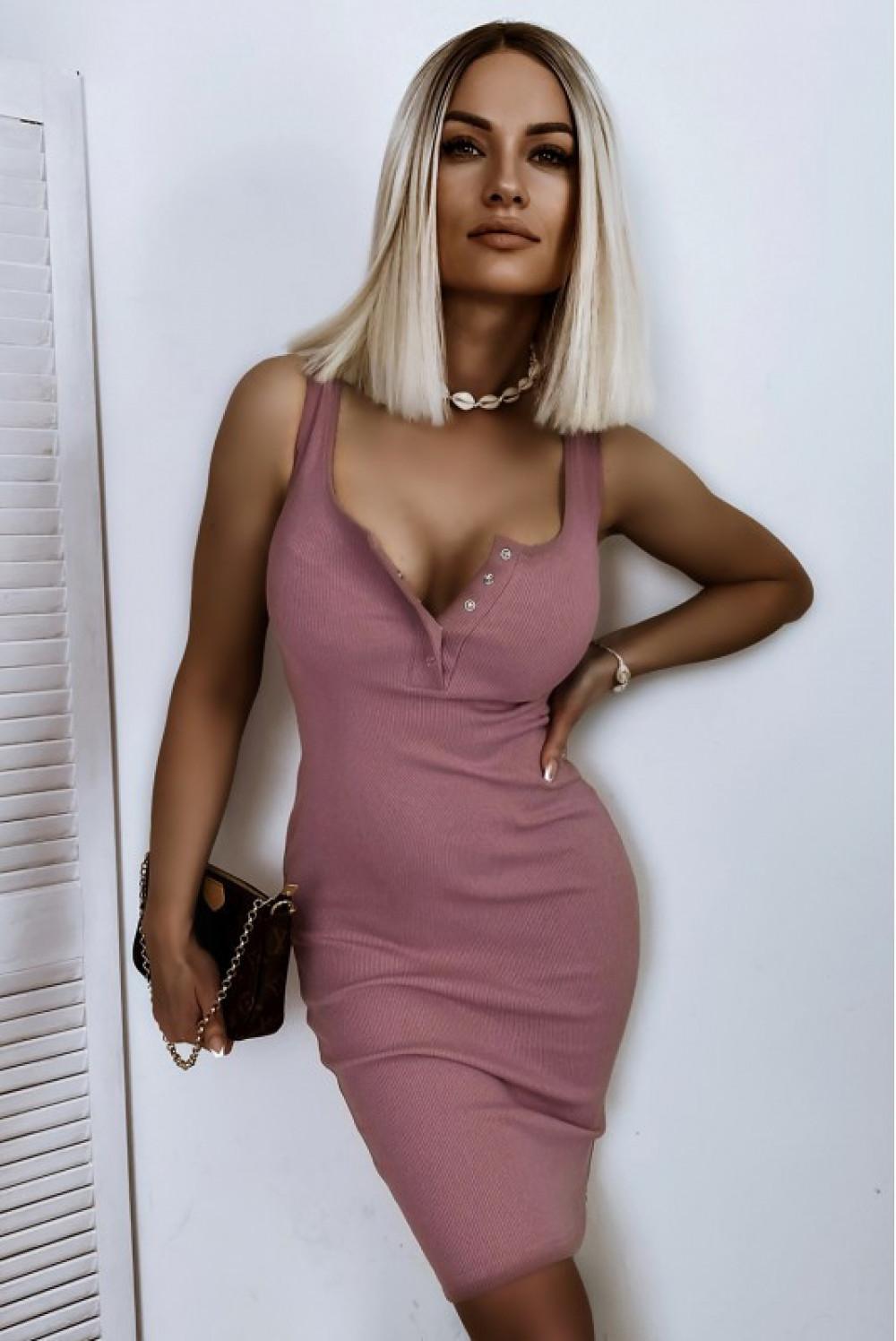 Brudno różowa dopasowana sukienka V-Neck Alexis 1