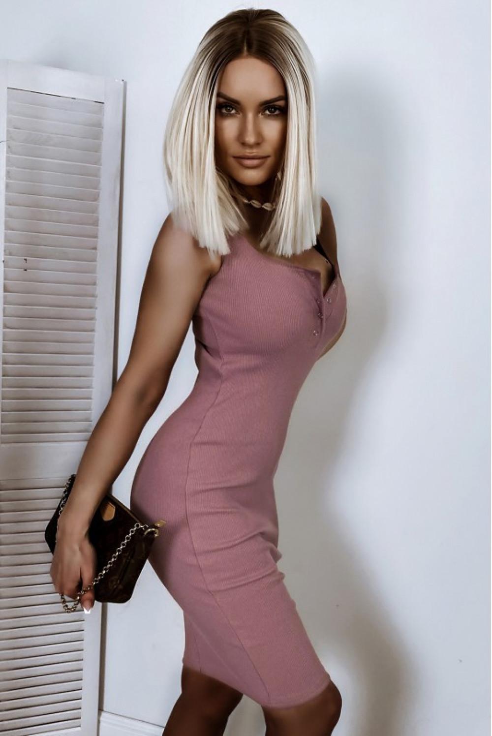 Brudno różowa dopasowana sukienka V-Neck Alexis 2