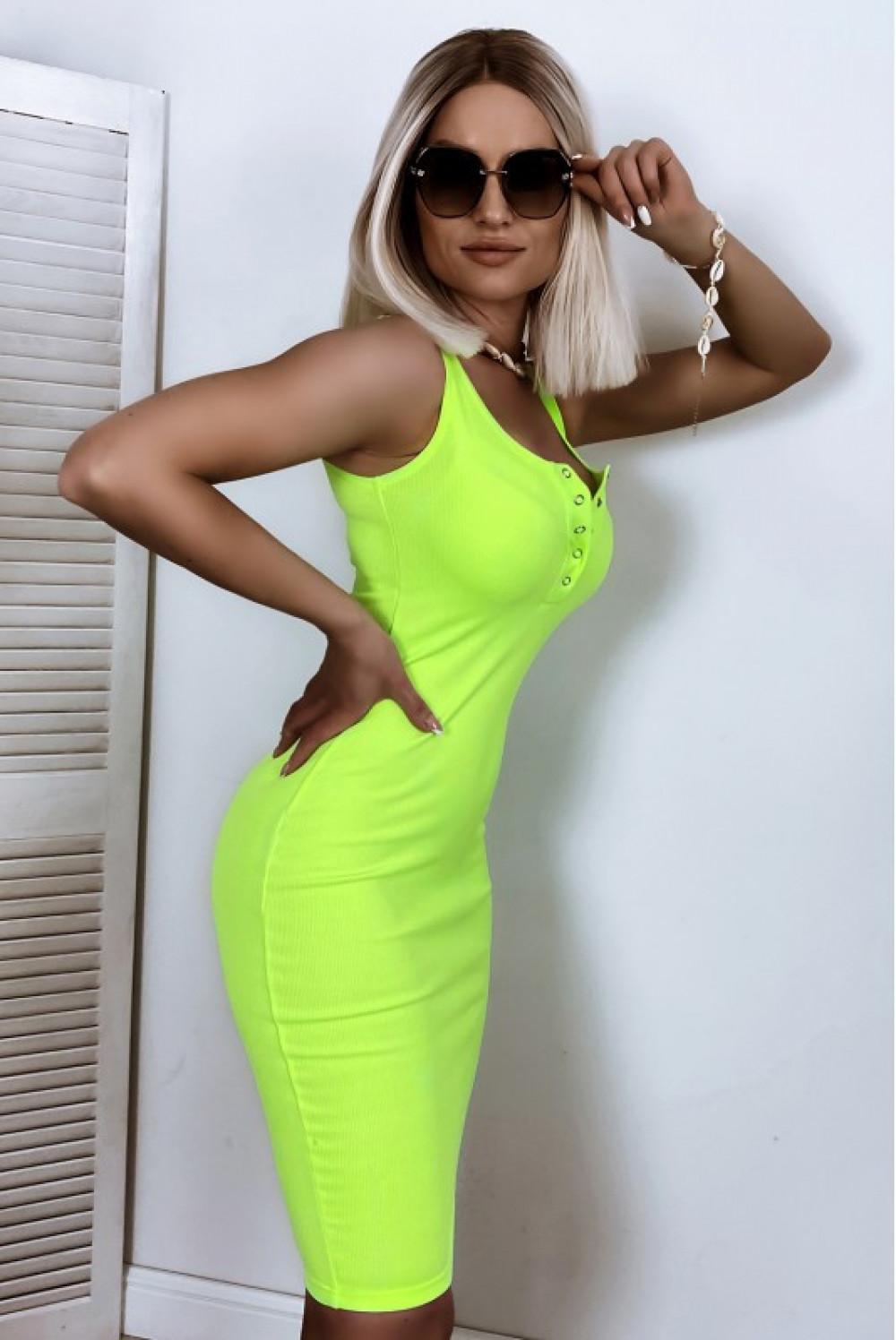 Neonowo limonkowa dopasowana sukienka V-Neck Alexis 2