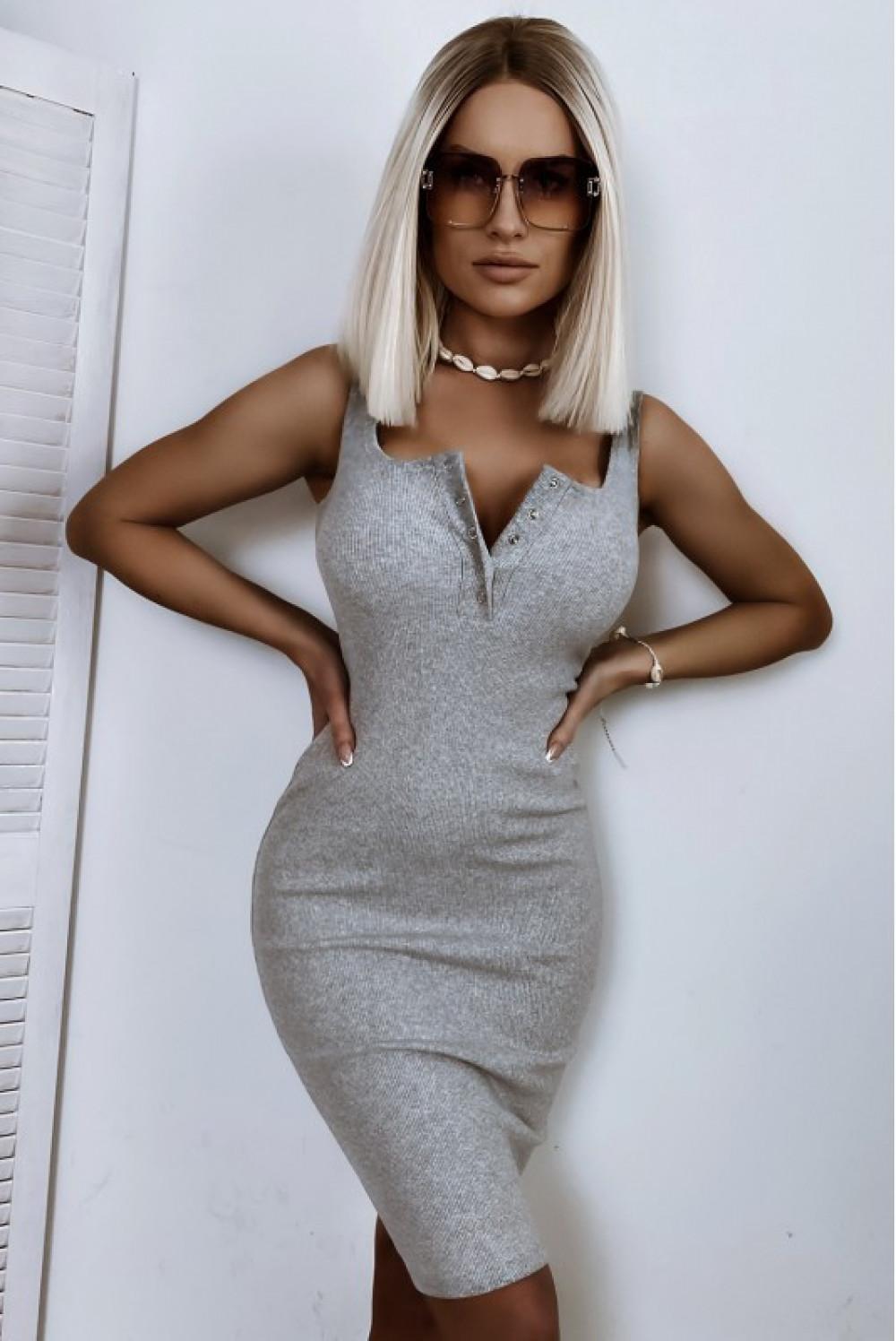 Szara dopasowana sukienka V-Neck Alexis 1