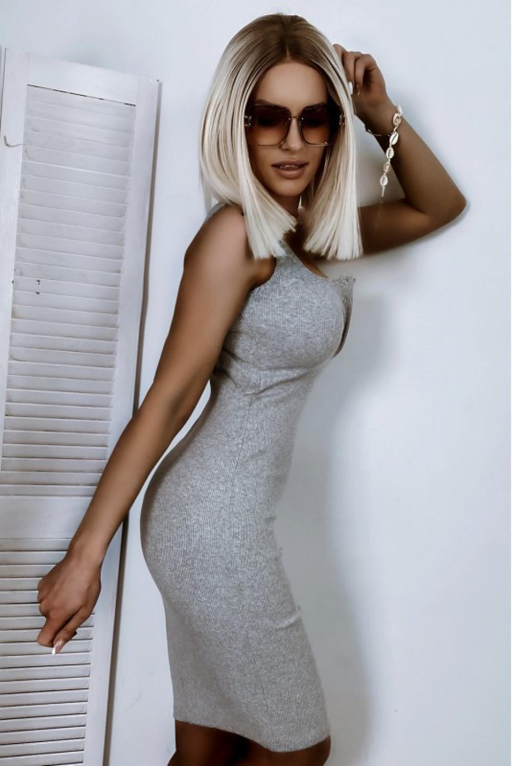 Szara dopasowana sukienka V-Neck Alexis 2