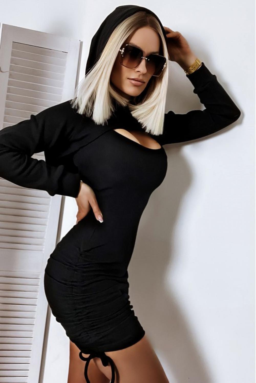 Czarna sukienka z marszczeniami i bluza Ariane 2