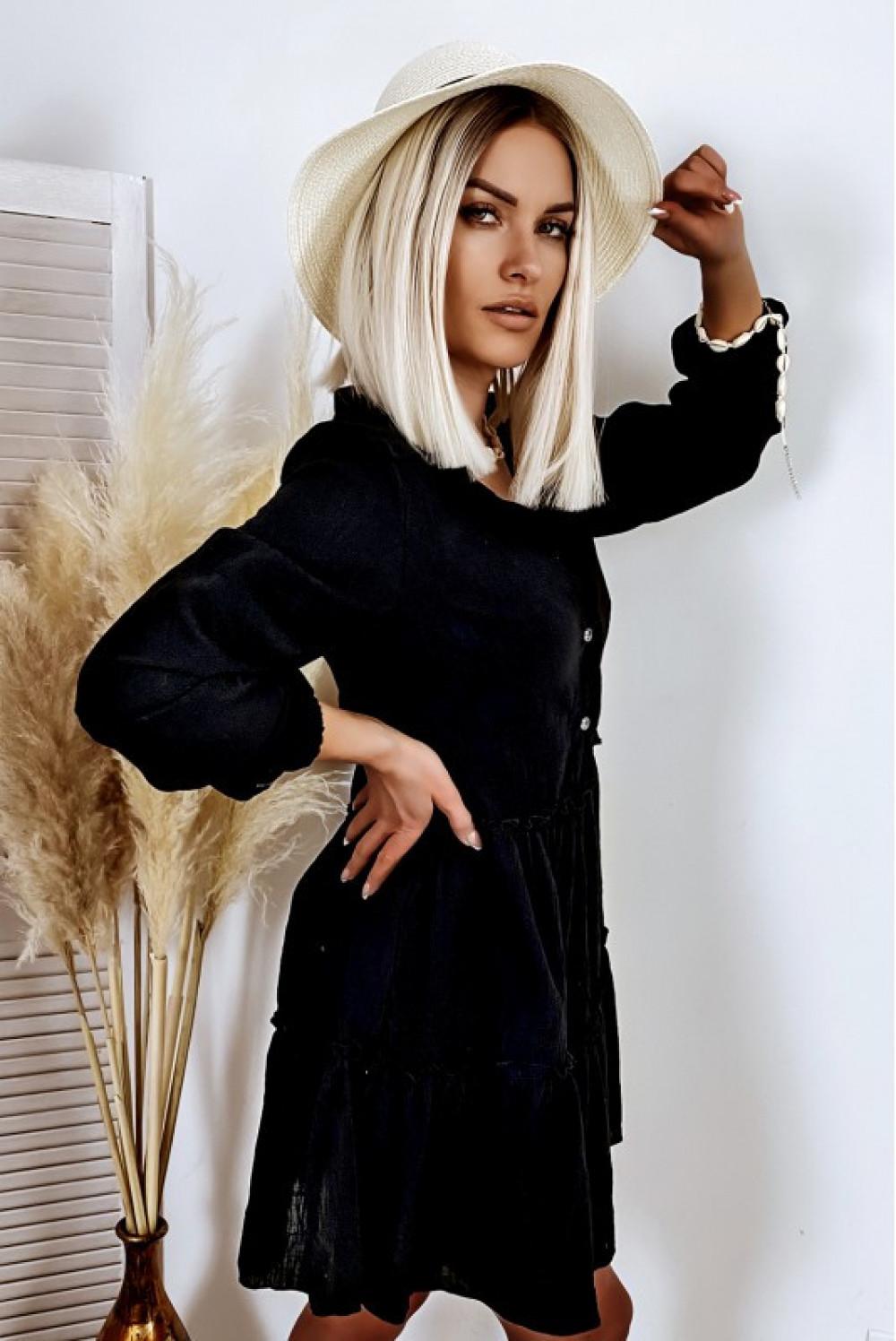Czarna bawełniana rozkloszowana sukienka z bufiastymi rękawami Céline 2
