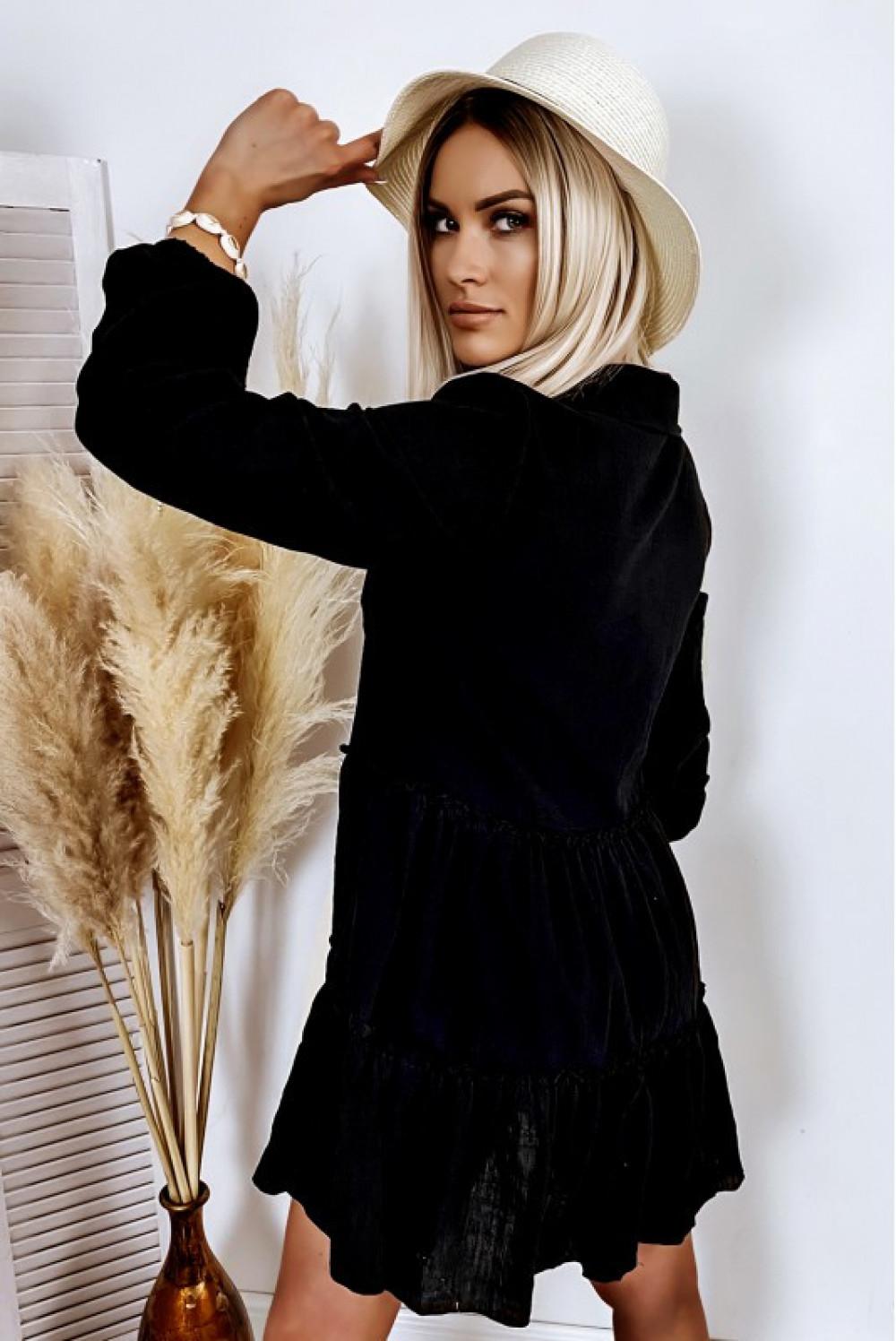 Czarna bawełniana rozkloszowana sukienka z bufiastymi rękawami Céline 3