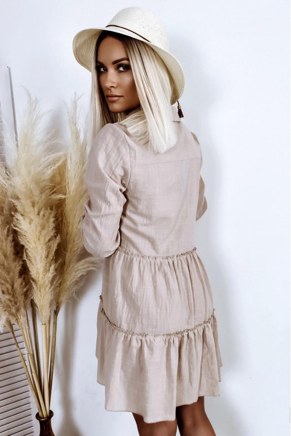 Beżowa bawełniana rozkloszowana sukienka z bufiastymi rękawami Céline 3