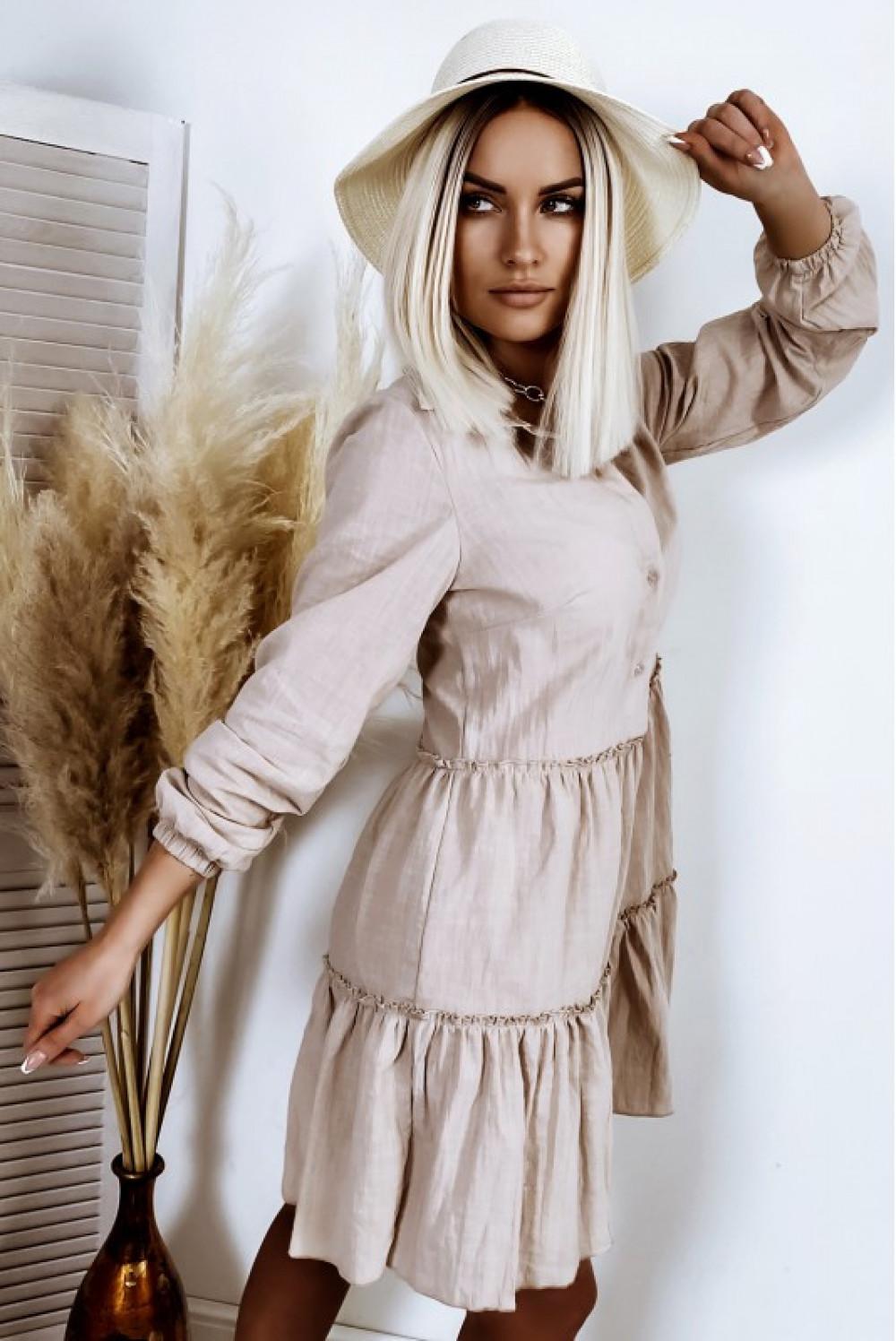 Beżowa bawełniana rozkloszowana sukienka z bufiastymi rękawami Céline 2