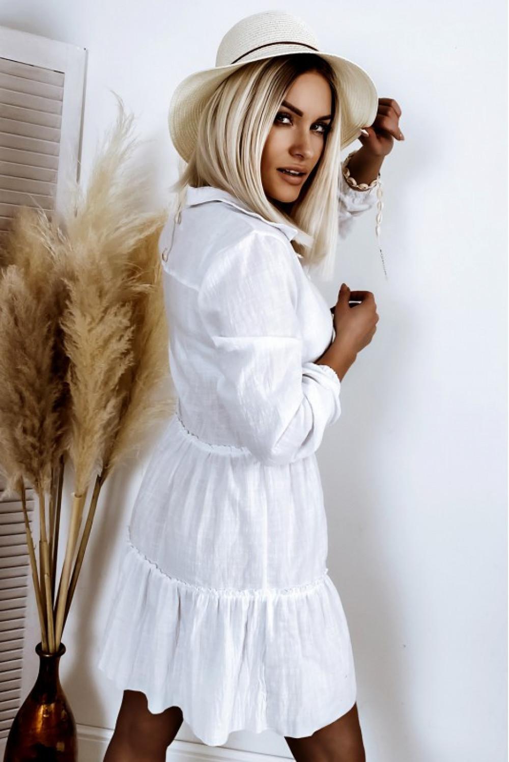 Biała bawełniana rozkloszowana sukienka z bufiastymi rękawami Céline 3