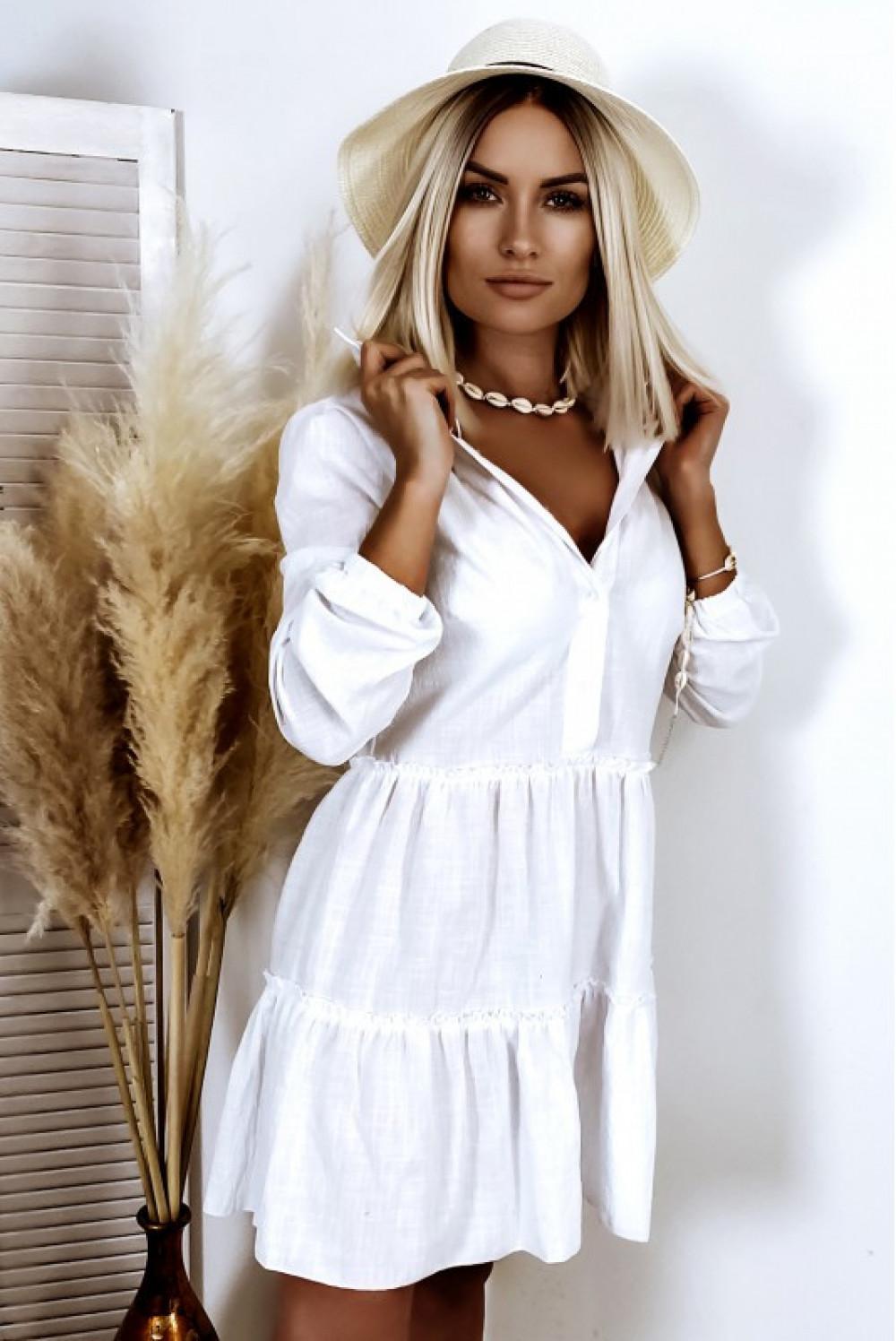 Biała bawełniana rozkloszowana sukienka z bufiastymi rękawami Céline 2