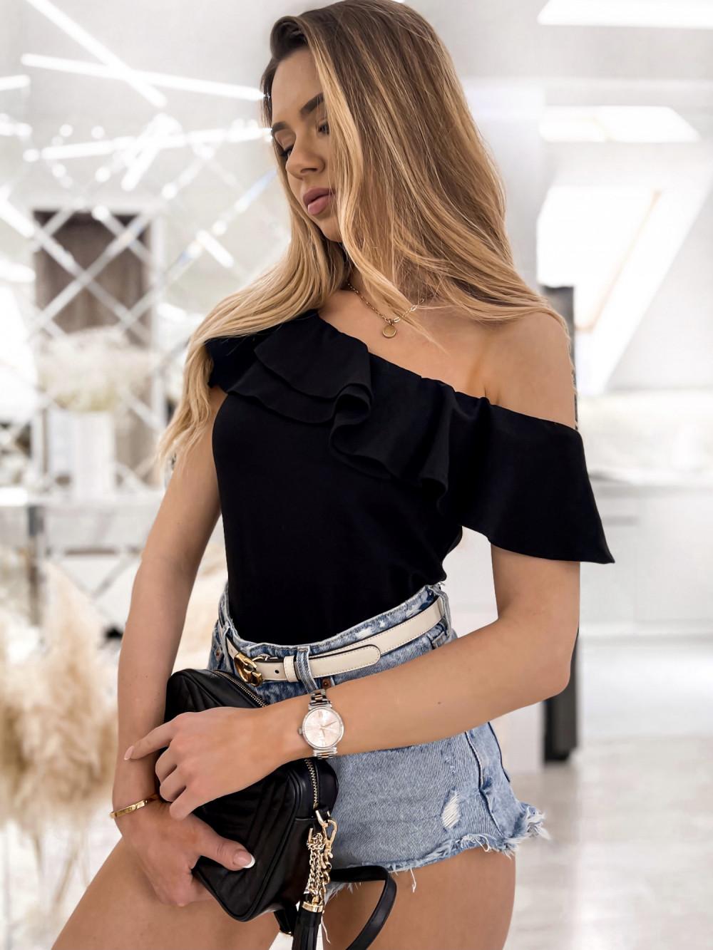 Czarna bluzka z falbankami hiszpanka Amalia 3