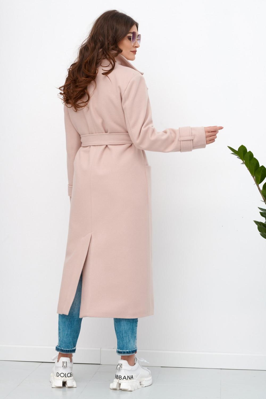 Jasnoróżowy długi płaszcz damski z wiązaniem Corinna 3