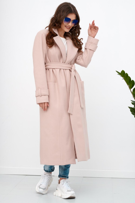 Jasnoróżowy długi płaszcz damski z wiązaniem Corinna 2