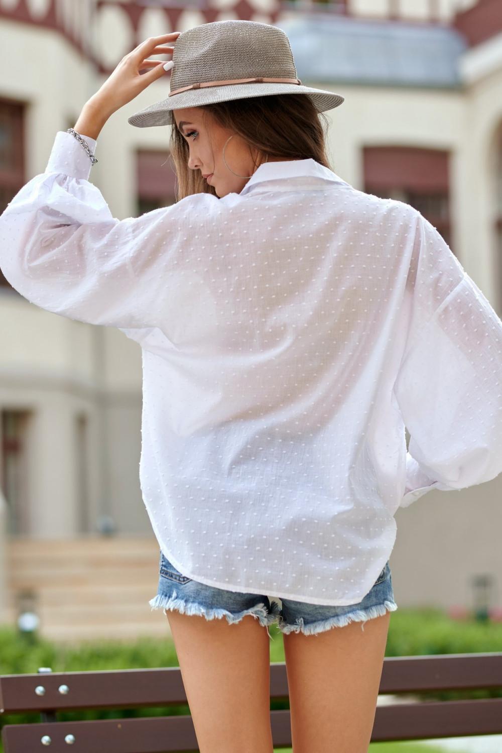Biała bawełniana koszula oversize z haftowanymi kropkami Alex 3