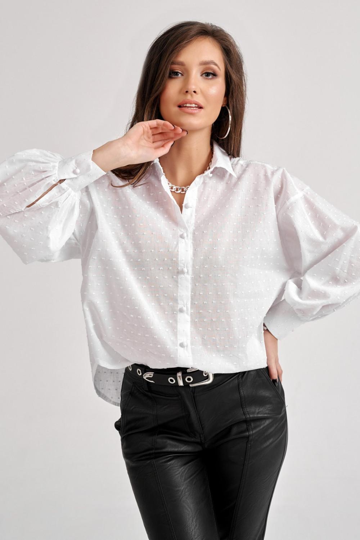 Biała bawełniana koszula oversize z haftowanymi kropkami Alex 4